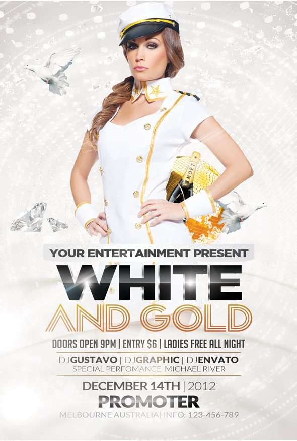 FreePSDFlyer | Free White and Gold Party Flyer Template - Download ...