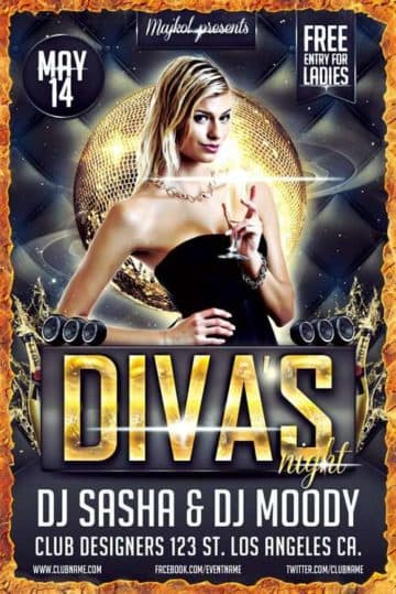 Download the Free Diva's Night Flyer Template Free PSD Download free psd flyer templates for free download