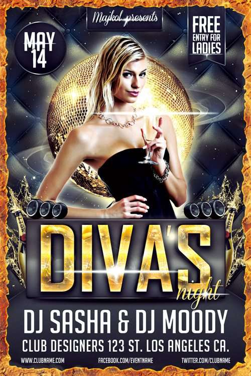 Freepsdflyer  Download The Free DivaS Night Flyer Template Free