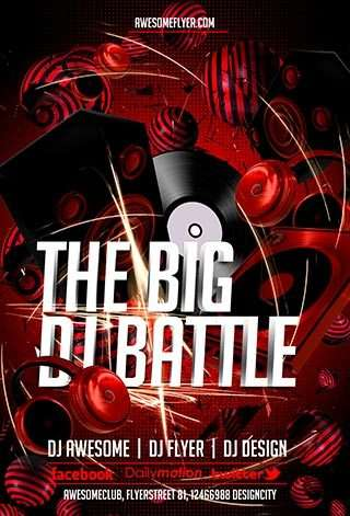Download the Free DJ Battle PSD Flyer Template