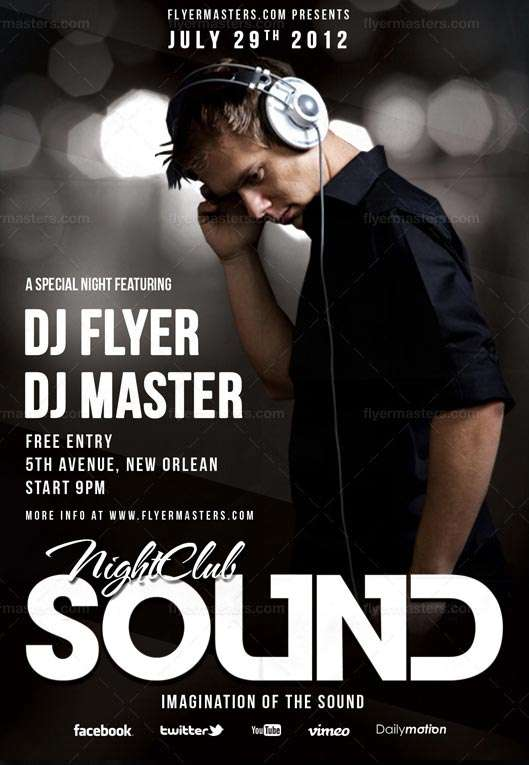 Free Sound Flyer and Poster PSD Template download free psd club flyer