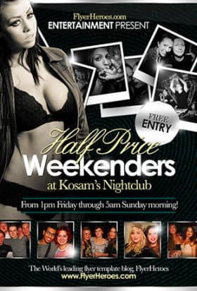 Free Half Price Weekenders Club Flyer Template