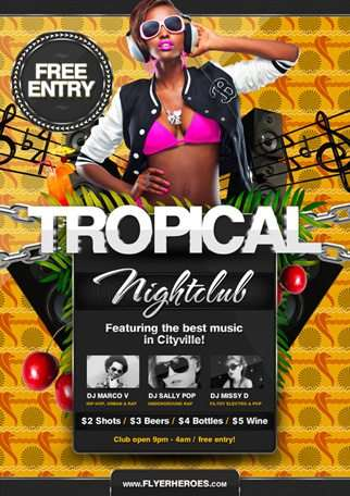 Free Tropical Summer Flyer Template - free and premium club party flyer templates for free download print ready free psd flyer templates for free download