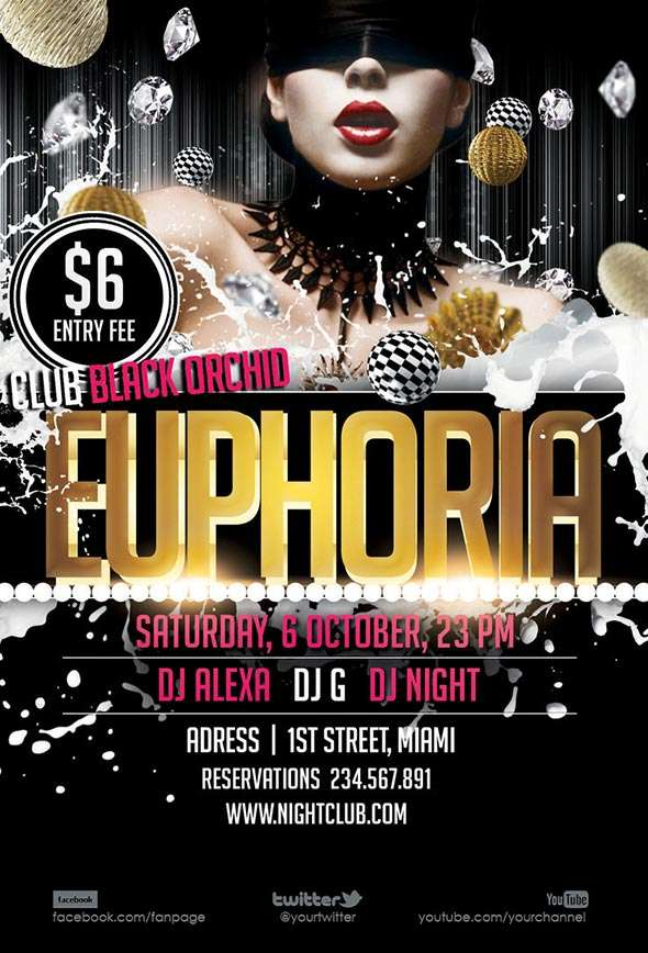 Download Free Euphoria Club Dance Flyer Templates