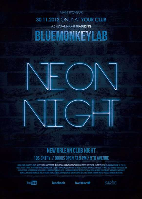 download the neon night free flyer template for photoshop