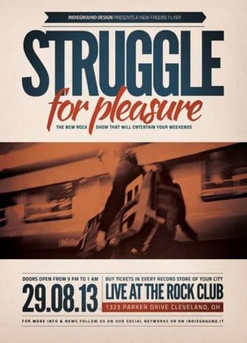 Indie Rock Struggle Party Free PSD Flyer Template