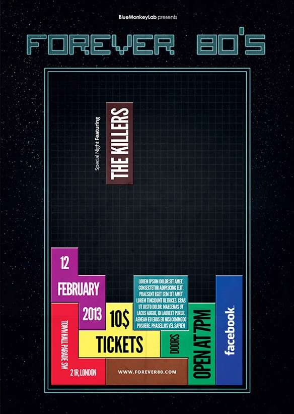 Download the Free Retro Tetris Style Flyer Template for Photoshop