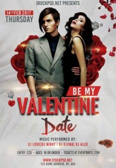 Be My Valentine Flyer Free PSD Flyer Template
