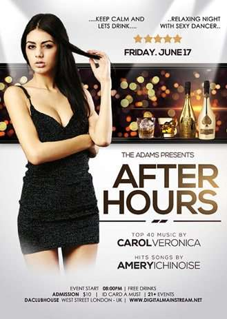 Download The After Hours Party Nightclub Free Psd Flyer Template