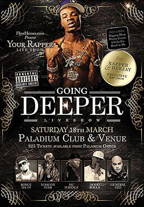 Freepsdflyer going deeper free hip hop psd flyer template free flyer club design for Hip hop psd
