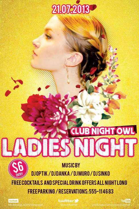 Free Ladies Night Flyer PSD Templates