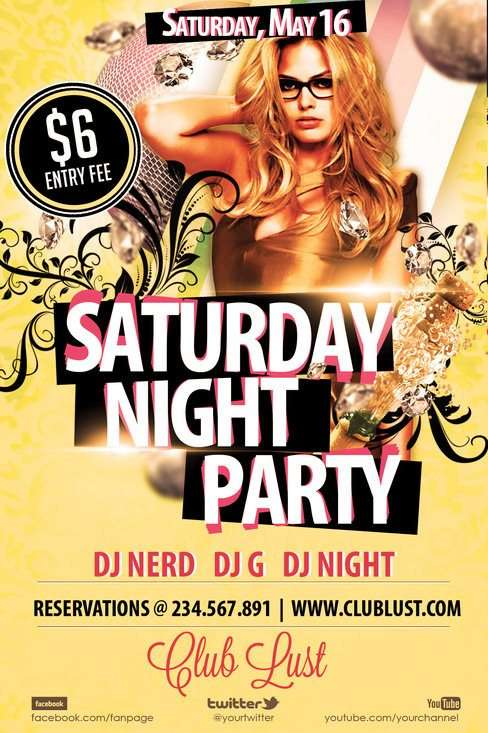 Free Saturday Night Party Flyer Template