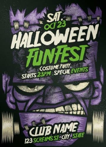 Free Franky Halloween PSD Flyer Template