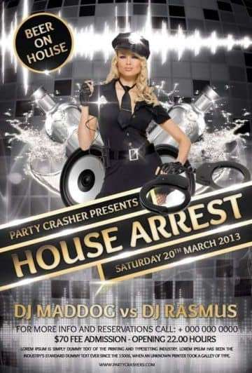 House Arrest Free Party Flyer PSD Flyer Template