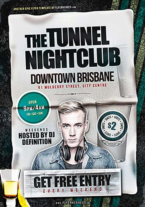 Download the Tunnel Nightclub Free PSD Flyer Template Freebie