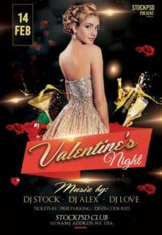 Valentine's Night Party Free Flyer Template