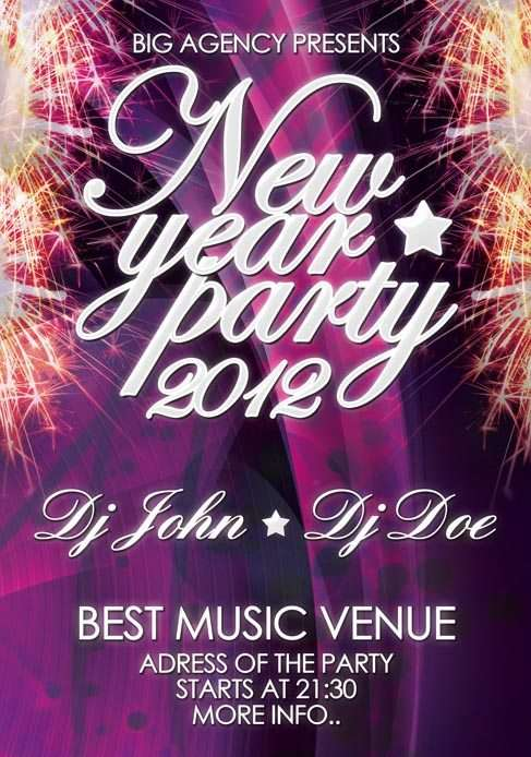 New Year Celebration Free PSD Flyer Template Download for Photoshop – New Year Poster Template