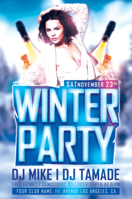 Download Winter Bash Free Club PSD Flyer Template for Photoshop