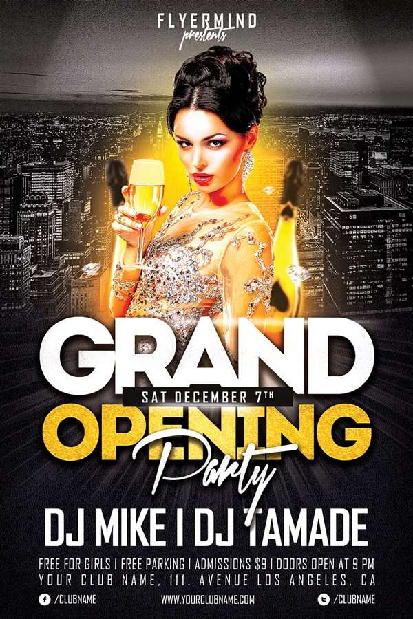 Freepsdflyer  Free Grand Opening Party Flyer Template  Download