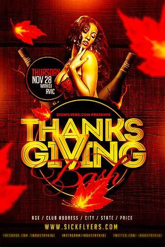 Thanks Giving Bash Free PSD Flyer Template