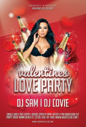 valentines Love party free psd flyer template