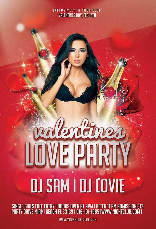 Free Valentines Love Party Flyer Template Download Free For Photoshop