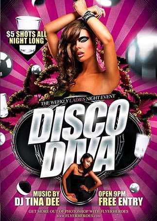 Disco Diva Free Psd Flyer Template  Download Free Psd Flyer Template