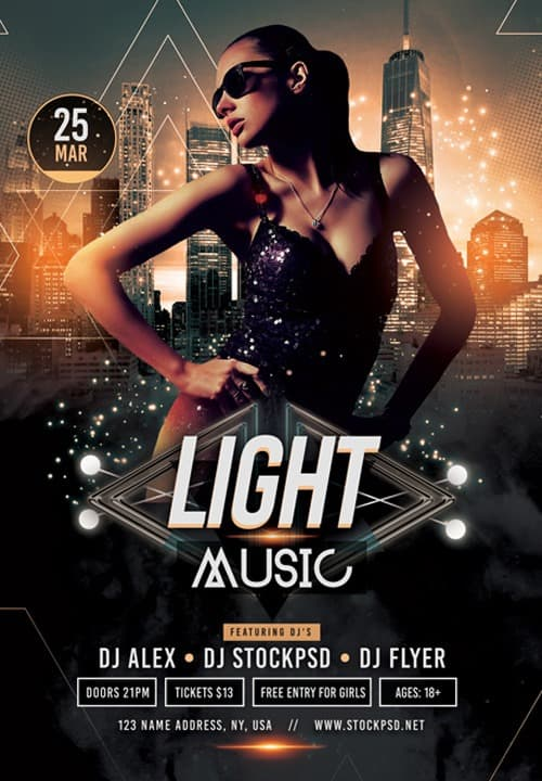 Light Music Party Free PSD Flyer Template