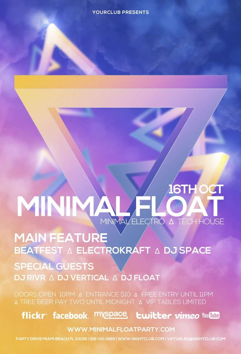 minimal float electro electro club psd flyer