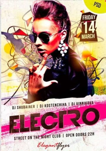 Electro Dj Party Free PSD Flyer Template