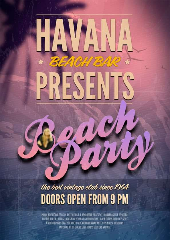 Free Beach Party PSD Flyer Template