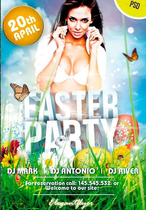 Free Spring Easter Party PSD Flyer Template