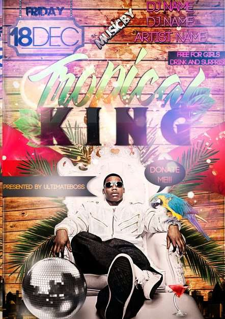 Free Tropical King Beach Party Flyer Template