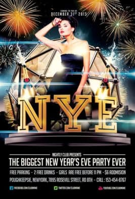 New Years Eve Party Free PSD Flyer Template for Free Download