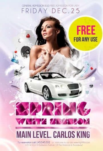 Download the Spring White Session Free Party Flyer Template