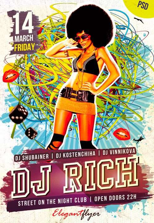 Electro House DJ FREE Flyer Template – Free Party Flyer and Poster PSD template