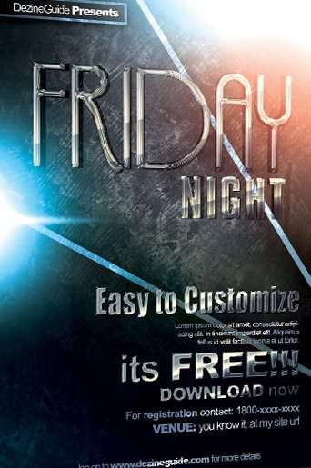Free Friday Night Flyer and Poster PSD Template - Download PSD Flyer