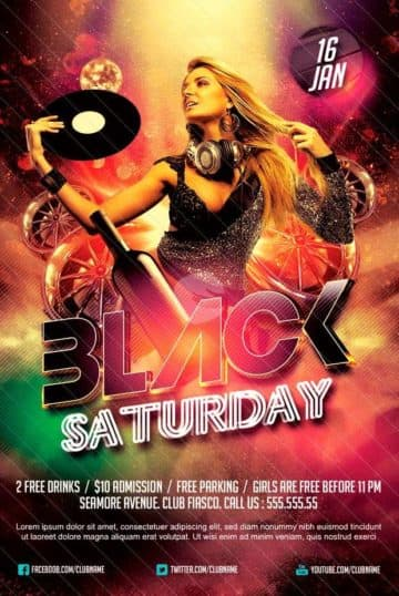 Black Saturday Party Free Flyer Template
