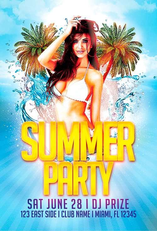 Download the best Free Spring Flyer PSD Templates for Photoshop – Beach Party Flyer Template