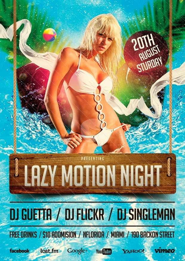 Free Flyer: Lazy Motion Party Template