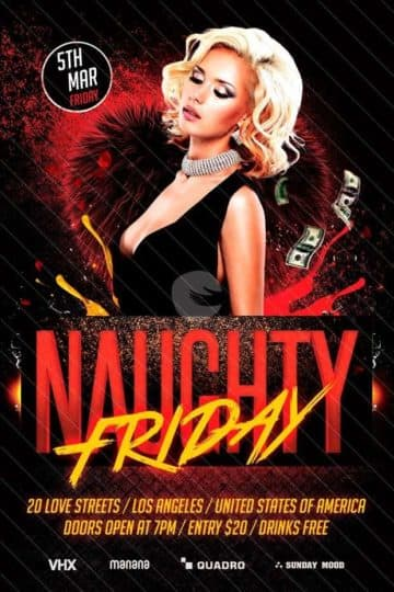 Naughty Friday Free Party PSD Flyer Template