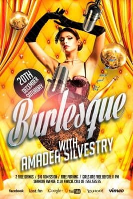 Burlesque Party Free Flyer Template - Download Free Flyer for Photoshop