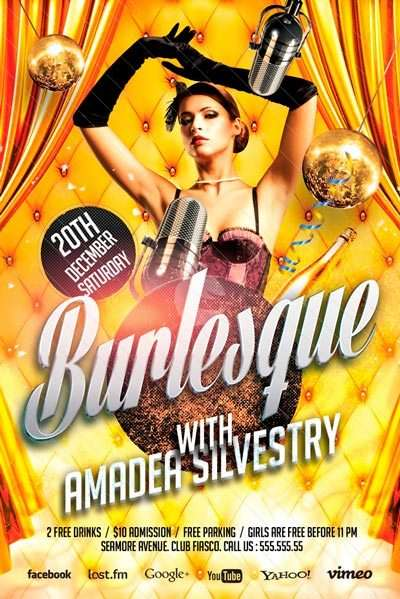 Burlesque Party Free Flyer Template