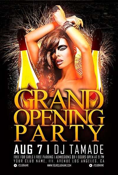 Free Grand Opening Party Flyer Template Vol.2 - Download For Photoshop