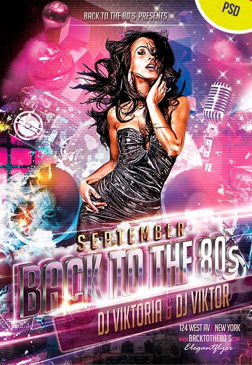 back to the 80s club party free flyer psd template