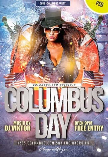 Columbus Day Club and Party Free Flyer PSD Template