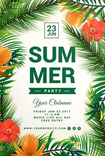 Free Tropical Flyer Party Flyer PSD Template