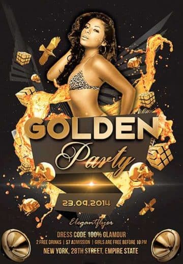 Golden Party Free Flyer PSD Template