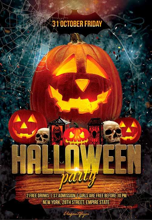 Halloween party free flyer psd template psd download for Free halloween flyer templates