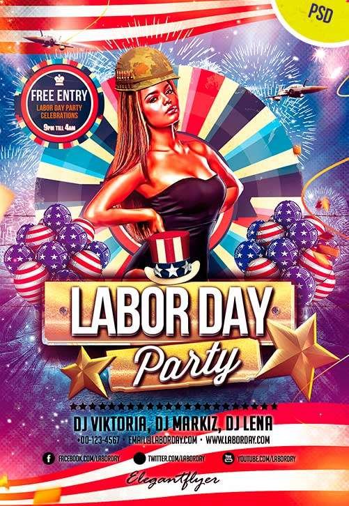Exceptional Labor Day Free Psd Flyer Template